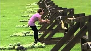 Epic Fail: Woman Takes Watermelon Launch To Face From Giant Slingshot Slow Motion! - Amazing Race