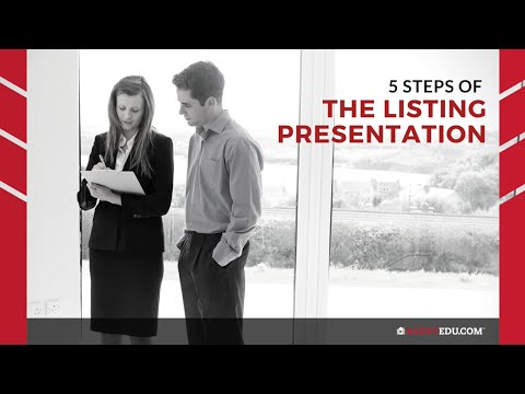 What are the 5 steps of the listing presentation?