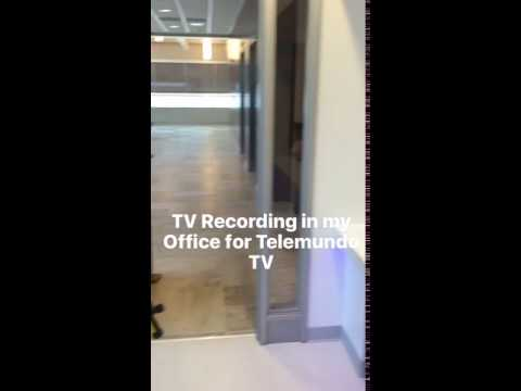 Telemundo TV recording interview at my office