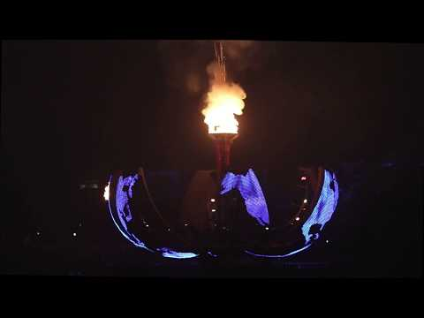 Epcot Illuminations Reflections Of Earth:  Fire And Globe Closeup Full Show From UK Pavilion