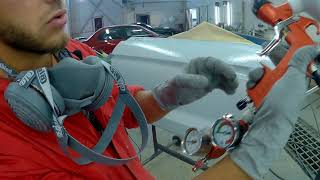 нанесение жидкой шпатли под давлением. Sagola 3300/Lechler/Adi upp