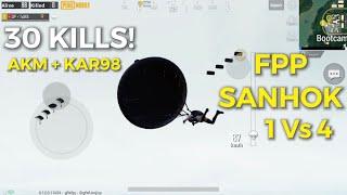 +30 KILLS | SANHOK (FPP) Pubg Mobile | Solo Vs Squad | AKM+KAR98
