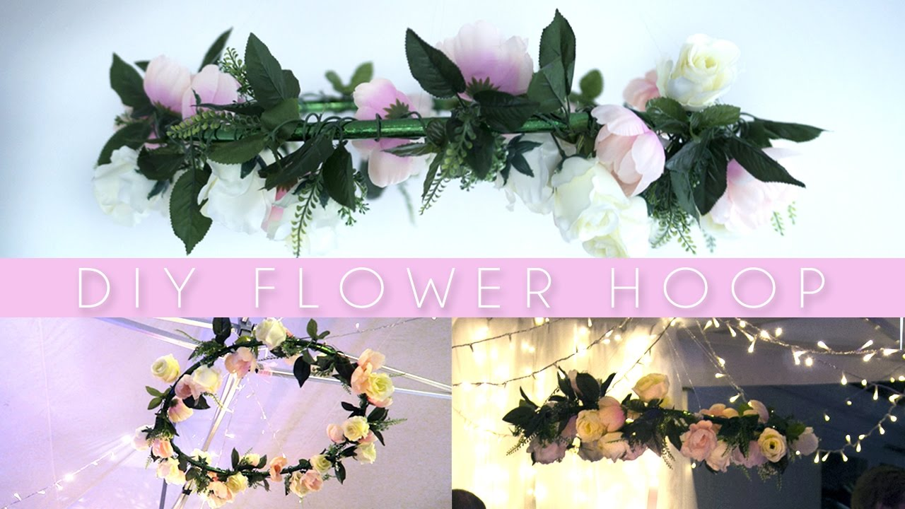 Diy hanging flower wreath hula hoop pinterest party for Hula hoop decorations