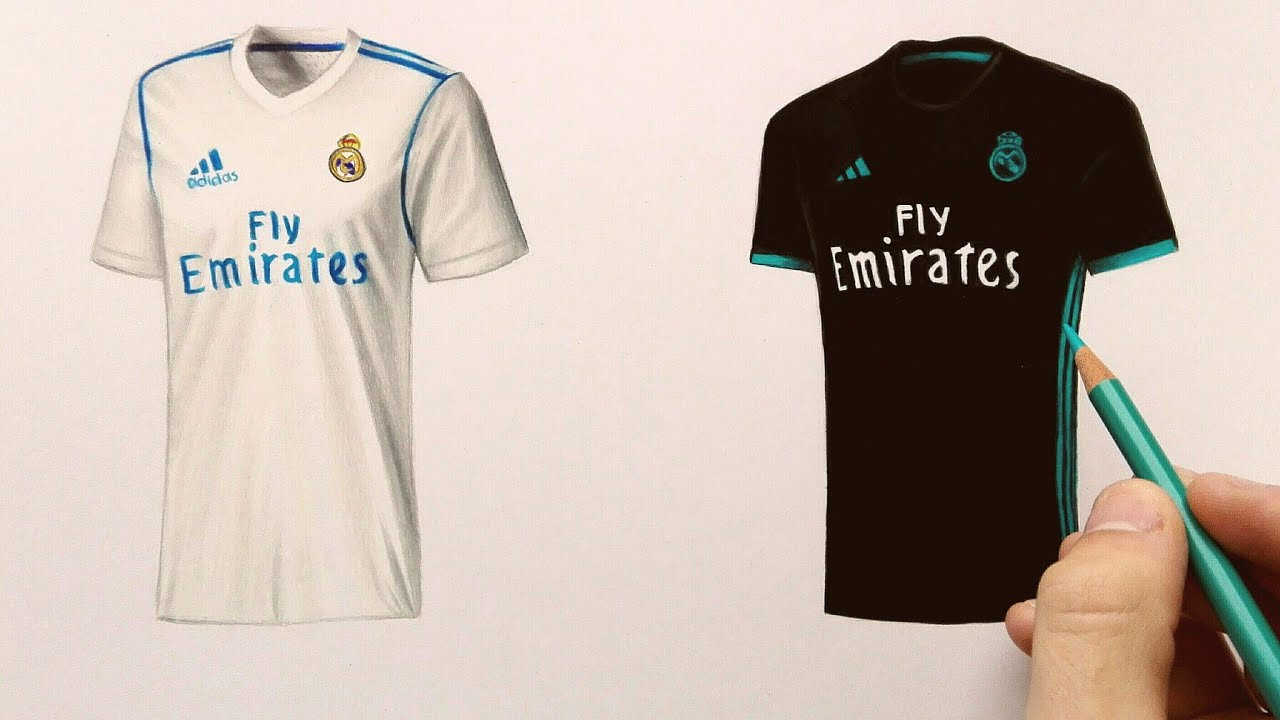 sale retailer 22039 cbffd How to draw Real Madrid t-shirt (2018)