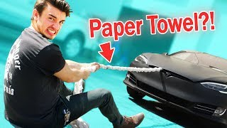 Can A Rope Of PAPER TOWELS Pull A TESLA?!