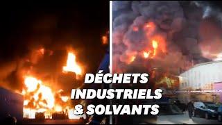 Les images saisissantes de l'incendie d'une usine de recyclage de déchets industriels en Espagne