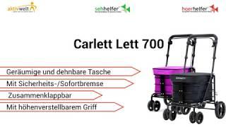 Produktvideo zu Einkaufstrolley mit Sicherheitsbremse & Sitzmöglichkeit Carlett Lett 700 Blueberry