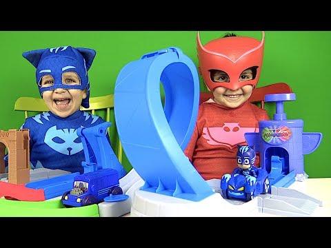 Pijamaskeliler oyuncak yarış pisti açan Kedi çocuk ve Baykuş kız PJ MASKS Rival racers track playset