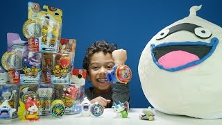 Repeat youtube video GIANT YO-KAI Watch WHISPER Play-Doh Surprise Egg + Medal Moments Toys + MORE!