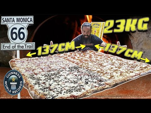 La Pizza Más Grande Del Mundo Retos De Comida En La Ruta 66 Episodio 7 California Youtube