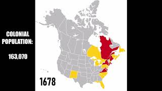 European colonization of the USA & Canada every year until 1800