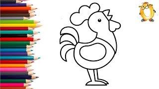 Раскраска для детей ПЕТУШОК. Мультик - Раскраска. Учим цвета II ОБУЧАШКА ТВ