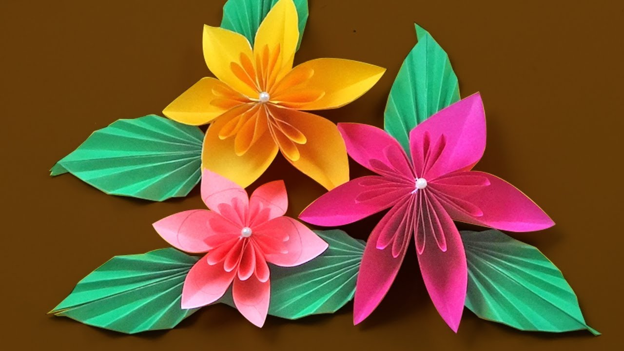 How To Make Paper Flowers Diy Origami Flower Tutorial Youtube