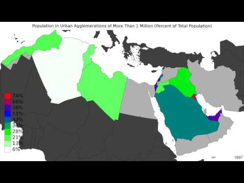 MENA - Population In Urban Agglomerations Of More Than 1 Million - Timelapse