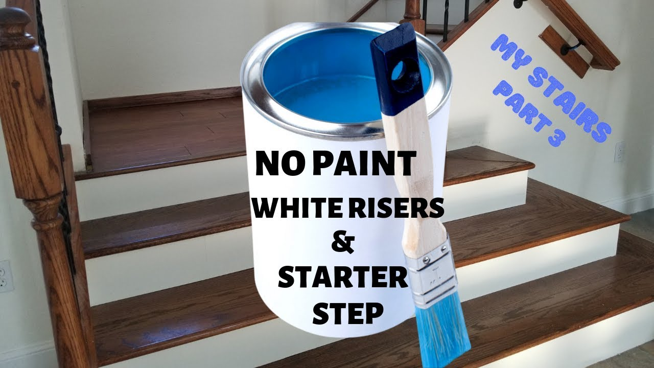 No Paint White Stair Risers Starter Step My Secret Stair Riser | Hardwood Steps And Risers | Gray Painted | Cherry Wood | Hardwood Floor | Timber | White