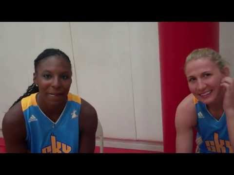 Shay Murphy and Courtney Vandersloot at Chicago Sky media day 2013