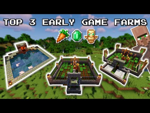 Minecraft Top 3 EARLY GAME Farms | No Redstone, Easy
