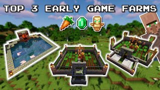 Minecraft Top 3 EARLY GAME Farms   No Redstone, Easy