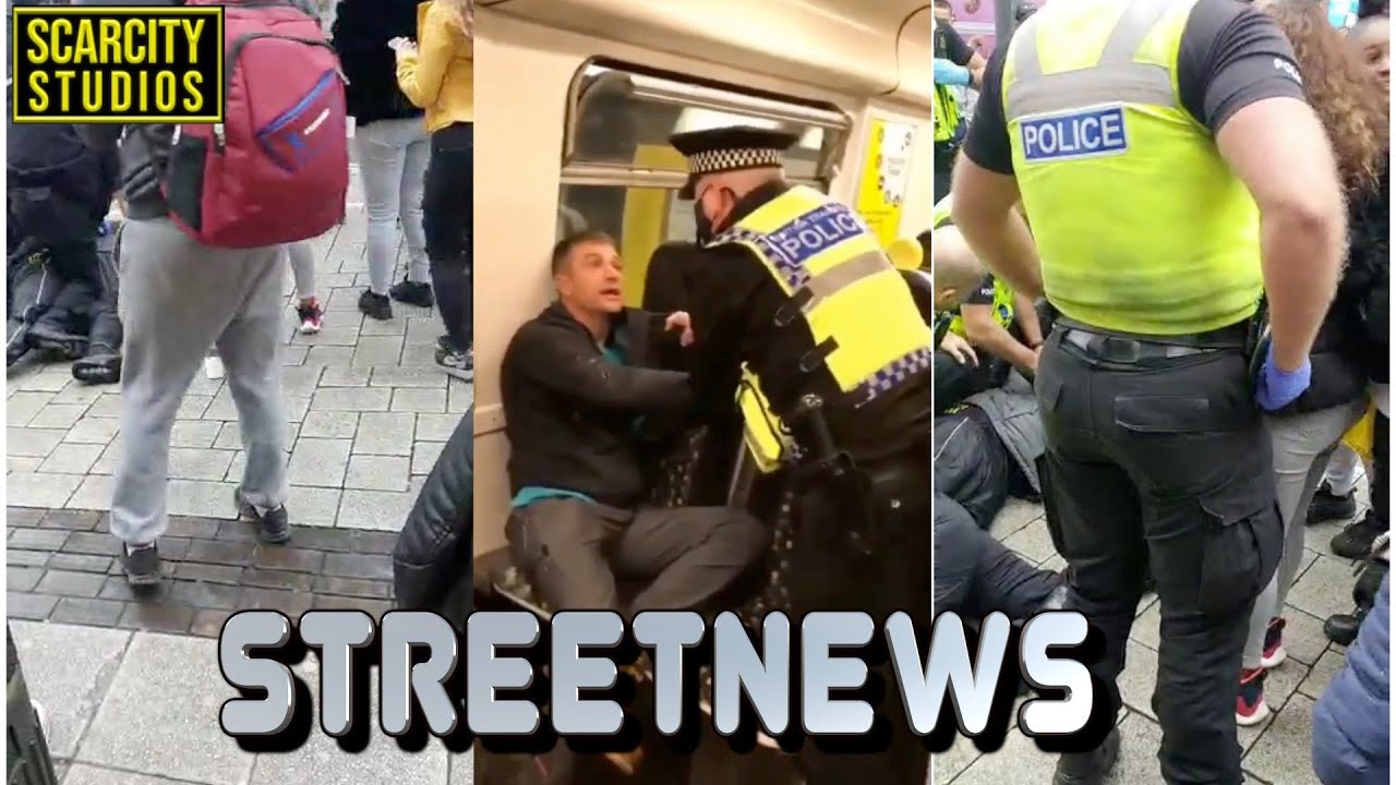 Birmingham Bullring Arrest & Man Pepper Sprayed  For Not Wearing Mask On Train in Liverpool