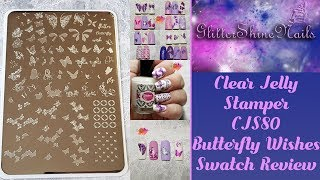 Clear Jelly Stamper Stamping Plate Swatch Review Featuring Cjs-80 Butterfly Wish