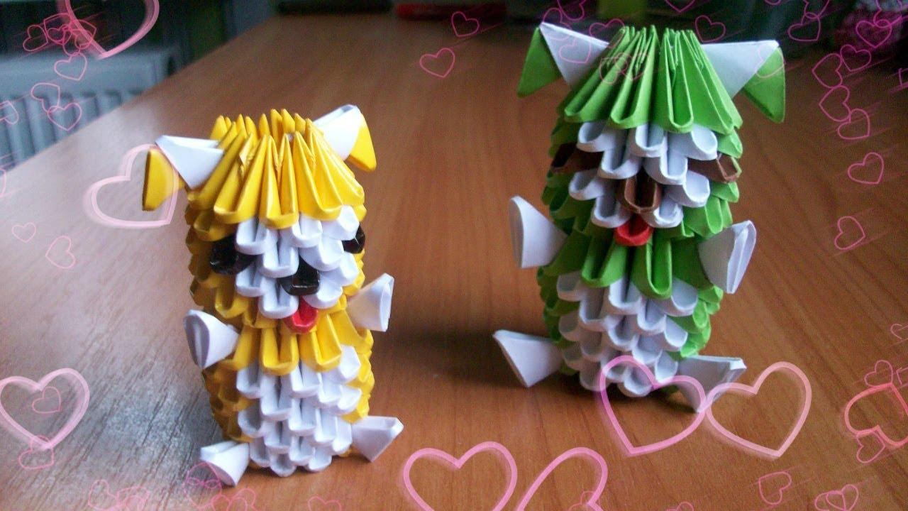 Как сделать из оригами собачку из бумаги 50