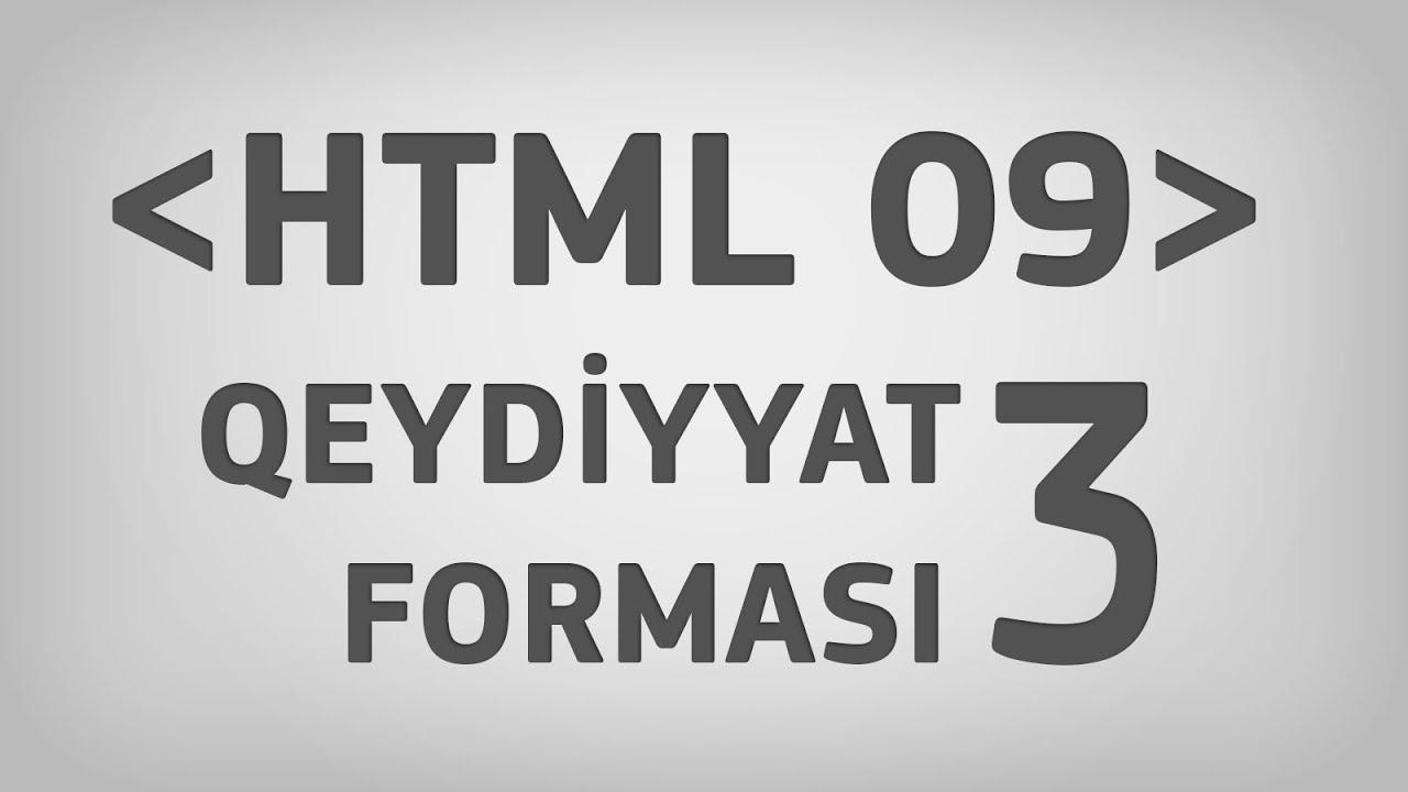 HTML 09 | Qeydiyyat forması. Hissə 3