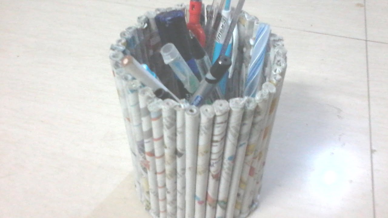 Diy how to make pen stand using news paper tubes rolls for Best out of waste making