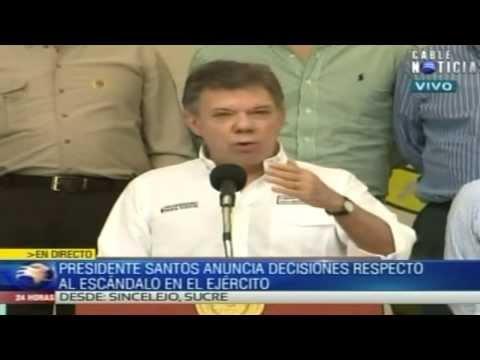 Santos anuncia la salida del Cdte. de las FFMM, Leonardo Barrero