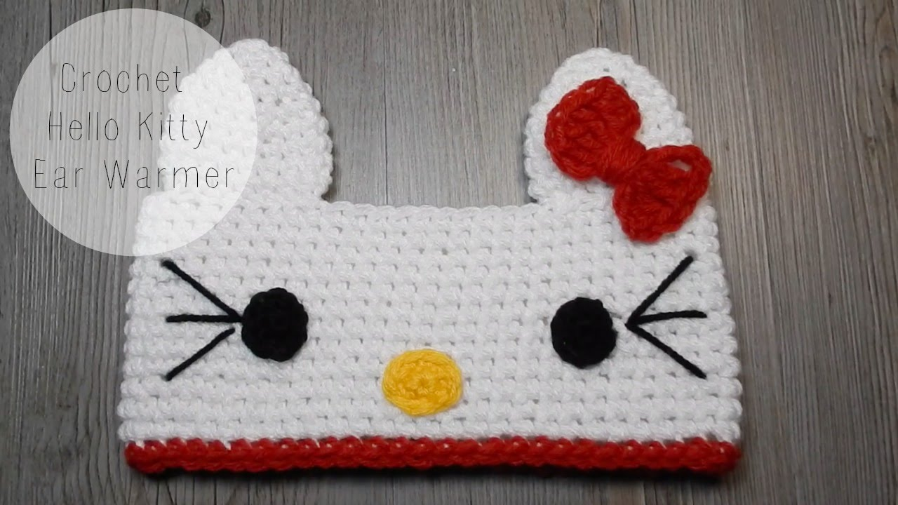 DIY Hello Kitty Crochet Ear Warmer Tutorial - YouTube