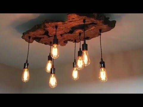 Wood light fixtures showcase