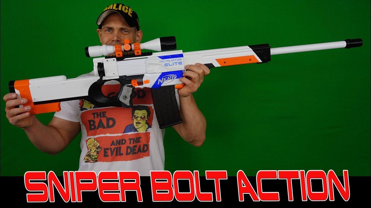 Nerf Awp Sniper Bolt Action Retaliator Mod Kit Asiimov Design Deutsch German Youtube