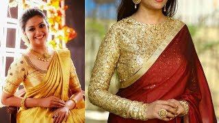 Beautiful saree with golden sequin blouse design/modern saree design for party