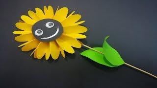 طريقة صنع زهرة دوار الشمس للاطفال How to Make Sunflower Paper for kids