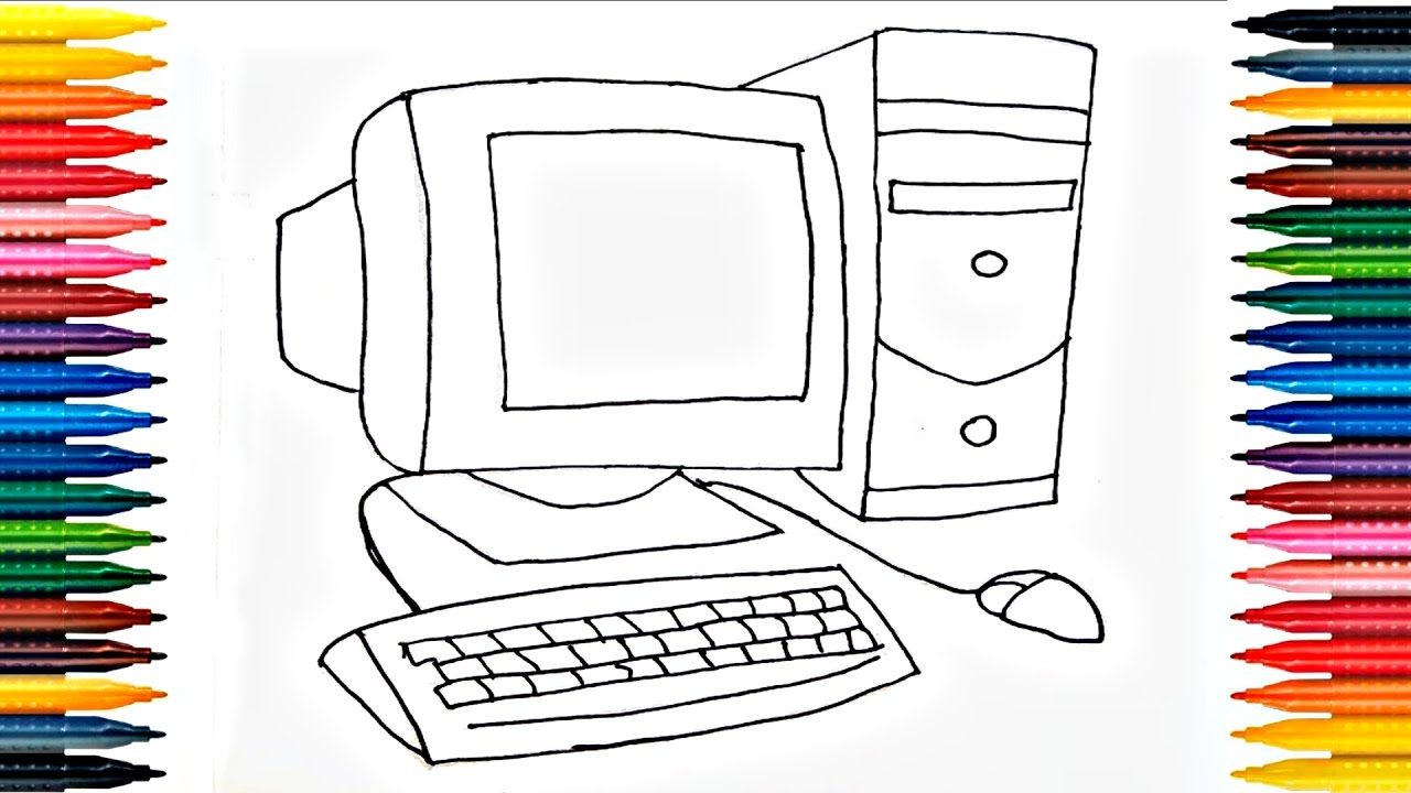 Desktop Coloring Pages How To Draw Computer Drawing