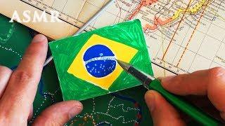 ASMR Drawing Map of Brazil Part 2 | History | Drawing Flag