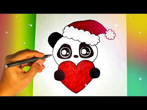 Как нарисовать ПАНДУ В ШАПКЕ ДЕДА МОРОЗА? Лёгкие рисунки для срисовки
