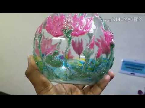 Easy Glass paints with Colorful Hot Glue Gun....!!!