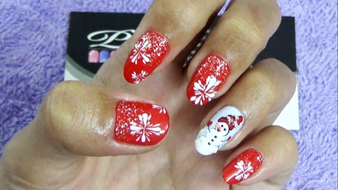 Mẫu nail mới, mẫu móng tay đơn giản mới đẹp nhất, vẽ móng noel, vẽ nail giáng sinh lên móng
