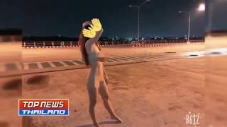 """""""น้องแนน"""" โพสต์ภาพเปลือยชวนเดินเล่นถนนเลียบทะเลเมืองชลบุรี"""