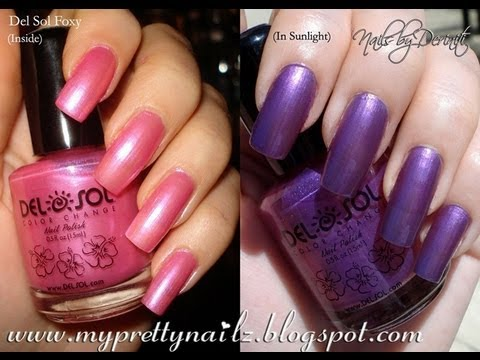 DEL SOL COLOR CHANGING NAIL POLISH SWATCHES! WATCH THE COLOR CHANGE BEFORE YOUR EYES!