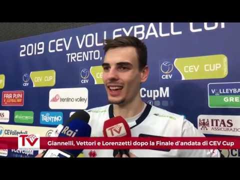 Giannelli, Vettori e Lorenzetti dopo la gara d'andata di Finale di 2019 CEV Cup