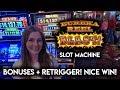 BONUSES and RE-TRIGGER! Lock-it Link Eureka Reel Blast Slot Machine! NICE WIN!!