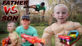 Father VS Son Strength Challenge!! Nerf Battle Obstacle Course!