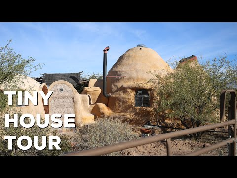 Unique Off Grid Earth Bag Tiny House Tour - Bisbee Arizona