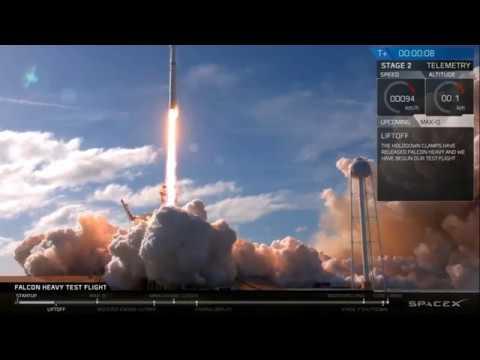Моменты старта и посадок SpaceX Falcon Heavy