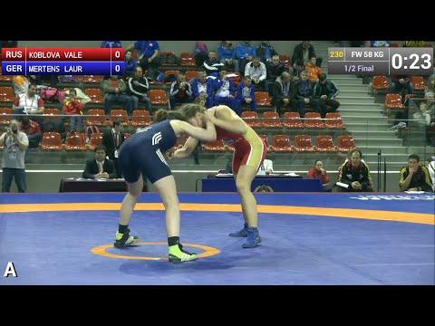 Semifinal FW - 58 kg: Valeriia KOBLOVA (RUS) df. Laura MERTENS (GER), 4-2