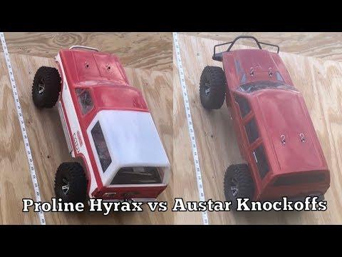 Scale Tire Test Proline Hyrax vs Austar knockoffs dry ramp