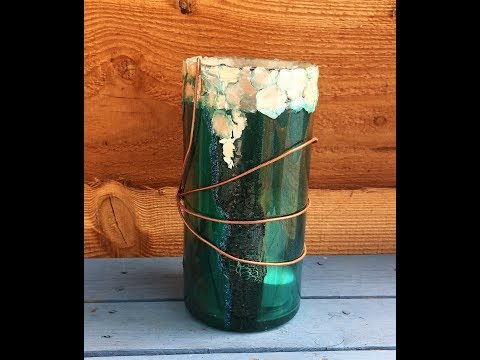 211. Resin Pour on a Vase-Using Crackle Paste/Mica Flakes/Glitter/Copper Wire