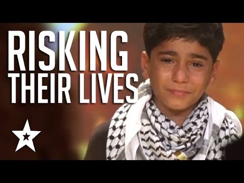 Kids Of Palestine Risk Lives To Show Thier Talent Winning Golden Buzzer! العربية حصلت على المواهب