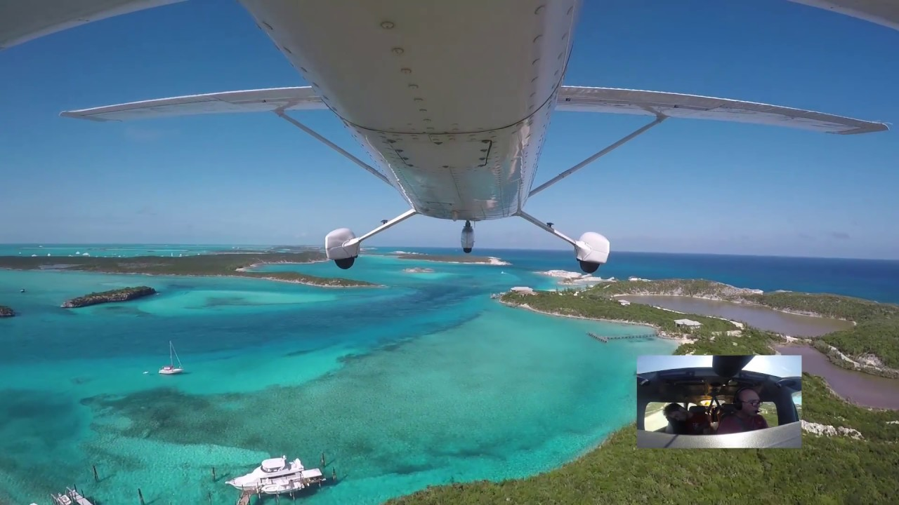 Landing and Departing Staniel Cay VFR and visit to Pig Island